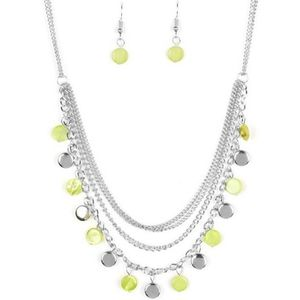 Lime green silver necklace with earrings